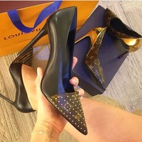 Louis Vuitton Lady splicing Fashion Tip and Shallow Mouth High-heeled shoes