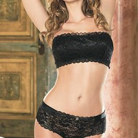 Stretch Lace Bandeaux Top / Panty(Small-XL)