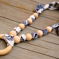 Adjustable Fabric Teething Ring Necklace (Nursing Necklace, Breastfeeding Necklace, Babywearing), Blue Floral Print.
