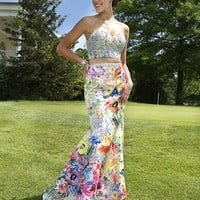print two piece fitted dress 21855 - Prom Dresses