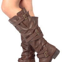 Brown Faux Leather Knee High Strappy Biker Boots