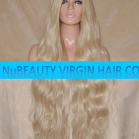"""CUSTOM COLORED Human Hair Wig Full Lace 30"""" Very Long Curly Body Wave Light Blonde #60"""