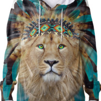 Fight For What You Love • Chief of Dreams: Lion v.2 Unisex Hoodie Sweatshirt created by soaringanchordesigns | Print All Over Me