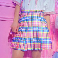2018 New Women Summer Mini Skirts Cute Sweet Harajuku Skirts Rainbow Color High Waist Plaid Mini Skirts Female #5114