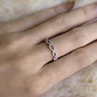 Art Deco Wedding Band - Micro Pave Ring - Simple Wedding Ring - Silver Half Eternity Band - Silver Antique Ring