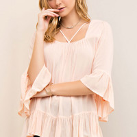 Square Neck Strappy Detail Blouse