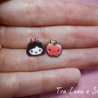 Earrings Snow White and apple, Snow White and the seven Dwarfs Disney - cute