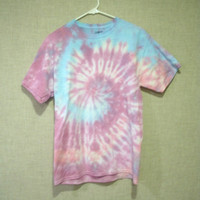 Pastel Swirl Tie-Dye T-shirt  with purples and blues -- Adult Medium