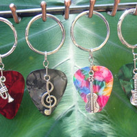 Music Band Key Chains, Choice Guitar Pick Keychain, Available in 16 Colors, Music Note, Band Guitar