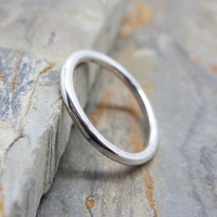 Simple Full Round Band in Sterling Silver - Matte / Brushed, Hammered, or Polished