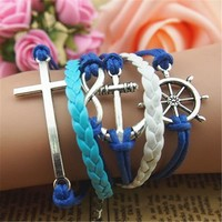 MagicPieces Anchor Braid Helm Cross Infinity 5 Layers Blue and White Handmade MultiLayered Bracelet For Women's Teens Friendship Birthday Gift
