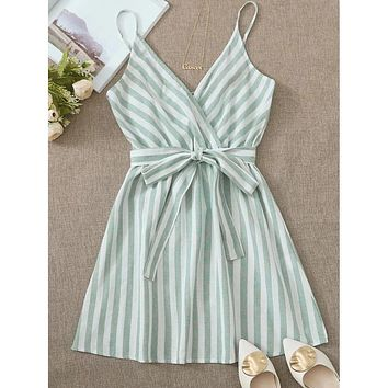 Surplice Neck Self Belted Striped Cami Dress