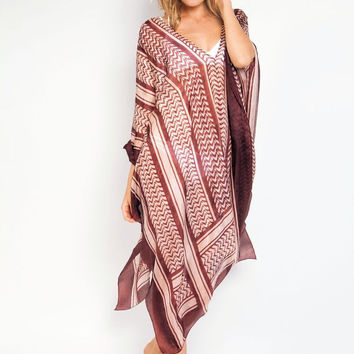 Saladin poncho in pink/brown
