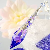 Blue Violet Crystal Necklace Swarovski Crystal Pendulum 18 or 24 Inch Silver Chain