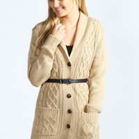Penelope Oversized Belted Cardigan with Roll Neck