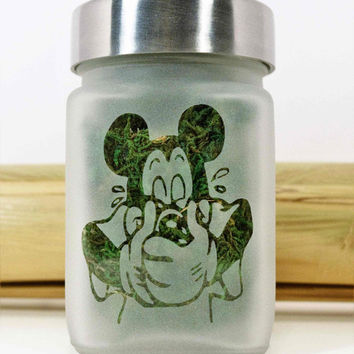 Mickey Mouse Inspired Etched Glass Stash Jar & Herb Kitchen Storage Container