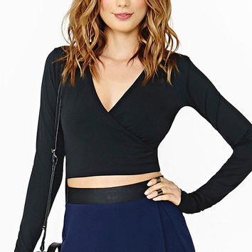 Black V-Neck Long Sleeve Crop Top