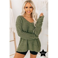 From Time To Time V-Neck Popcorn Sweater (Light Olive)