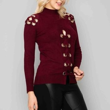Eyelet Lace Front Long Sleeve Top