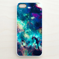 Galaxy iPhone 5 4 4S Case iPhone 4 Case Space Hubble Green Blue Purple