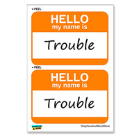 Trouble Hello My Name Is - Sheet of 2 Stickers