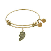 Antique  Stipple Finish Brass Left-Half Heart Best Friends Forever BFF Angelica Bangle, 7.25 Inches Adjustable