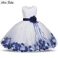 Babe Toddler Girl Baptism Dress Christmas Costume Petals Baby Girl Dress Kids Party Wear Tulle Dresses