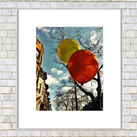 Party in Brooklyn - Bright Balloons and Brownstones Fine Art Matted Mini Print - 4x6 with 5x7 Mat