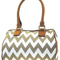 Chevron Print Top Handle Faux Leather Fashion Purse (Taupe)