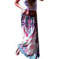 Lady Floral Print Maxi Elastic Waist Long Skirt Long Pleated Maxi Dress S-XL Women P16 SM6