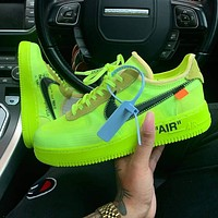 NIKE OFF-WHITE x Air Force 1 Low Volt Fluorescent green casual shoes