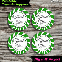 """Thank you - Cupcake toppers - Green - Instant Download - Party printable - Party favor - Candy Bar - 5 cm / 2"""""""