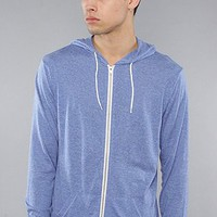 All Day The Zip Up Hoody in Medium Blue Speckle hood ,Sweatshirts for Men
