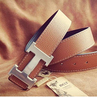 Hermes Woman Fashion Logo Leather Smooth Buckle Belt