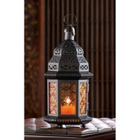 Amber Moroccan Pressed Glass With Metal Candle Lantern