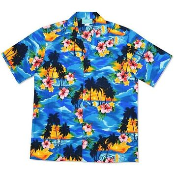 skyburst hawaiian cotton shirt