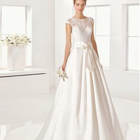 [168.99] Charming Lace & Satin Jewel Neckline A-Line Wedding Dresses With Beaded Lace Appliques - dressilyme.com