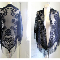 Vintage black lace crocheted Sweater Cape // Shawl // Scarf with fringe and flowers
