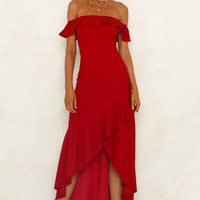 Heart On The Line Maxi Dress Red