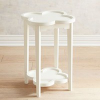 Clover White Accent Table