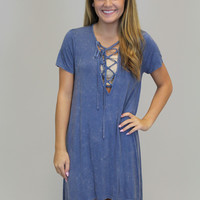 Navy Lace Up Washed Tunic