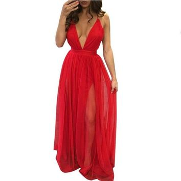 Sexy Summer Sleeveless Evening Party Beach Dress Deep V Neck 4 Colors