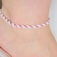 Beaded Ankle Bracelet, Cranberry & White, Beaded Anklet, Beadwoven, Spiral Rope, Bridal, School Colors