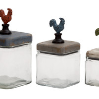 Too Cute Glass Wood Canister Set Of 3