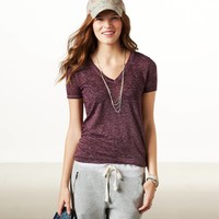 AE Favorite V-neck Burnout T-Shirt | American Eagle Outfitters