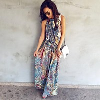 Women Floral Maxi Dress Sleeveless Long Beach Sundress Ladies Womens Sexy Daily Dresses Clothing