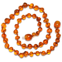 Hand Made Baltic Amber Teething Necklace for Babies - Safety Knotted - Genuine Certified Amber - SHIPS FROM USA - Cognac Color