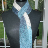 Ombre Chevron crochet scarf, fuzzy scarf, neck warmer blues and white