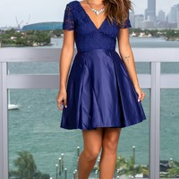 Navy V-Neck Crochet Top Short Dress