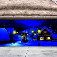 Christmas Garage Door Cover Banners 3d Christmas Tree Holiday Outside Decorations Outdoor Decor for Garage Door G45